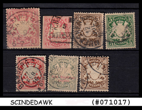 BAVARIA - GERMAN STATE - SELECTED STAMPS - 7V - USED