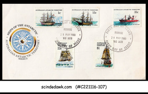 AUSTRALIAN ANTARCTIC TERRRITORY - 1980 SHIPS OF THE ANTARCTIC - 5V - FDC