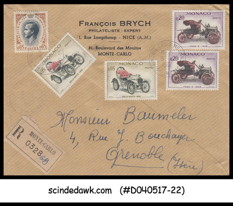 MONACO - 1962 REGISTERED Envelope to Grenoble with VINTAGE CARS stamps