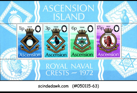 ASCENSION 1972 ROYAL NAVAL CRESTS - MINIATURE SHEET MINT NH