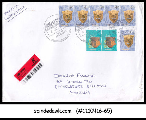 ARGENTINA - 2010 REGISTERED ENVELOPE TO AUSTRALIA WITH 8-STAMPS