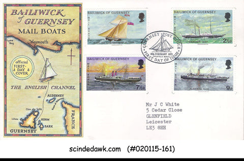 BAILIWIXK OF GUERNSEY - 1972 MAIL BOATS / SHIP - 4V - FDC