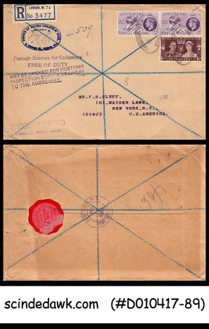 GREAT BRITAIN 1951 REGISTERED envelope to USA with STAMPS PASSSED BY BRITISH PHI