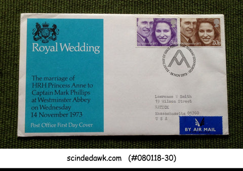 GREAT BRITAIN 1973 ROYAL WEDDING PRINCESS ANNE AND CAPTAIN MARK PHILIIPS 2V FDC