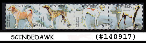 INDIA -2005 BREED OF DOGS - SE-TENANT -4V STRIP MINT NH