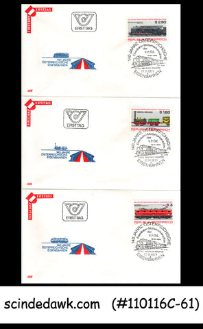 AUSTRIA - 1977 140yrs OF AUSTRIAN RAILWAY / TRAIN - FDC 3nos