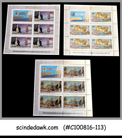 COOK ISLANDS - 1978 250th BIRTH ANNIVERSARY OF CAPTAIN COOK - SHEETLETS MNH 3nos