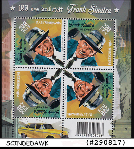 HUNGARY - 2015 100th Birth Anniversary of Frank Sinatra Min/sht MNH