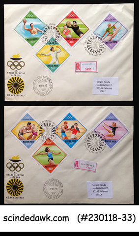 HUNGARY - 1972 SUMMER OLYMPIC GAMES MUNICH - SET OF 2 FDCs
