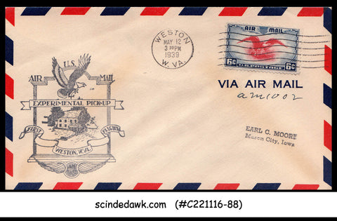 USA - 1939 U.S. AIRMAIL WESTON Experimental Pick-up FIRST FLIGHT COVER