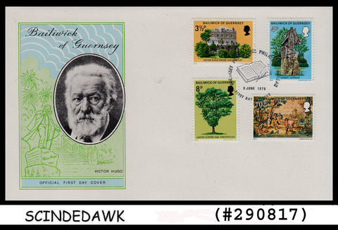 BAILIWICK OF GUERNSEY - 1975 Victor Hugo's Exile in Guernsey - 4V FDC