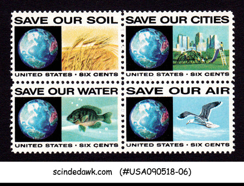 UNITED STATES - 1970 ANTI POLLUTION ISSUE - SE-TENANT 4V MNH