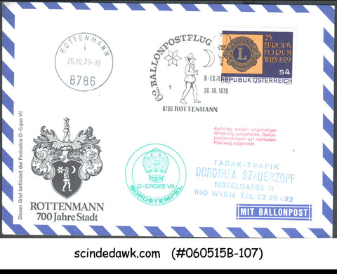 AUSTRIA - 1979 700yrs OF ROTTENMAN SPECIAL COVER WITH SPECIAL CANCL. BALLOOON PO