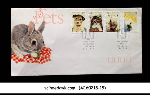 AUSTRALIA - 1991 PETS / ANIMALS - CAT DOG HORSE - 4V FDC