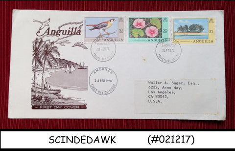 ANGUILLA - 1973 TOURISM DEFINITIVES - BIRDS - FLOWERS - 3V  FDC