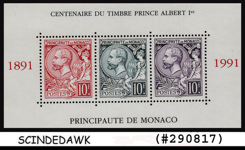 MONACO - 1991 Centenary of Prince Albert SG#2068 - Miniature sheet MINT NH