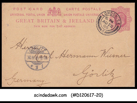 GREAT BRITAIN & IRELAND - 1d KEDVII UPU POSTCARD to GORLITZ GERMANY -B30