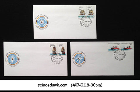 AUSTRALIAN ANTARCTIC TERRITORY - 1980 SHIPS OF THE ANTARCTIC - FDC 3nos