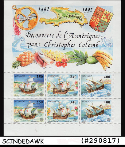 MONACO - 1992 500th Anniversary of Discovery of America / SHIPS Min/sht MNH