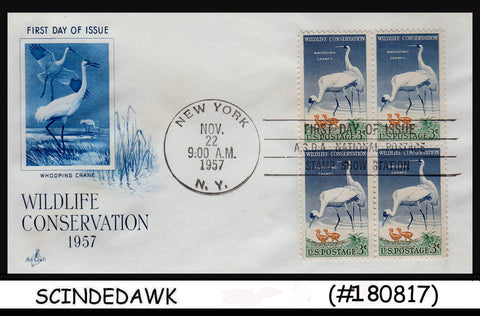 USA - 1957 WILDLIFE CONSERVATION / BIRDS - Blk of 4 - FDC