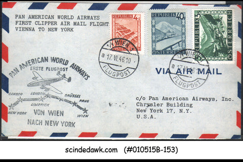 AUSTRIA - 1946 PAN AMERICAN WORLD AIRWAYS VIENNA to NEW YORK - 3V - FFC