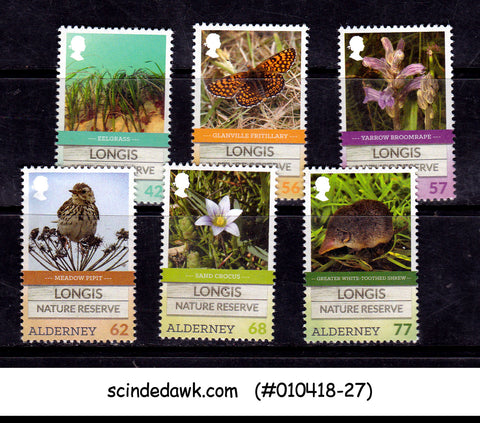ALDERNEY - 2016 LONGIS NATURE RESERVE / BIRDS FLOWER ANIMALS - 6V MINT NH