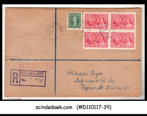 CANADA - 1937 CORONATION BLK OF 4 ON REGD ENVELOPE TO LONDON - 10TH MAY CANCL