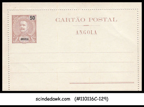 ANGOLA - 50reis LETTER CARD - OVPT - MINT