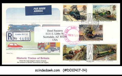 GREAT BRITAIN - 2004 HISTORIC TRAINS - 5V - FDC to USA - Registered