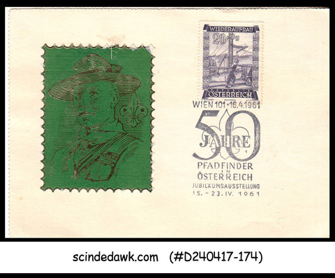 AUSTRIA - 1961 50yrs OF BOY SCOUTS SPECIAL CARD WITH SPECIAL CANCL.