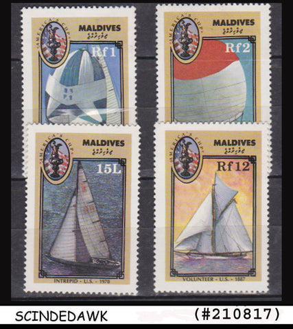 MALDIVES - 1987 America's Cup, Yacht racing / SHIPS - 4V - MINT NH