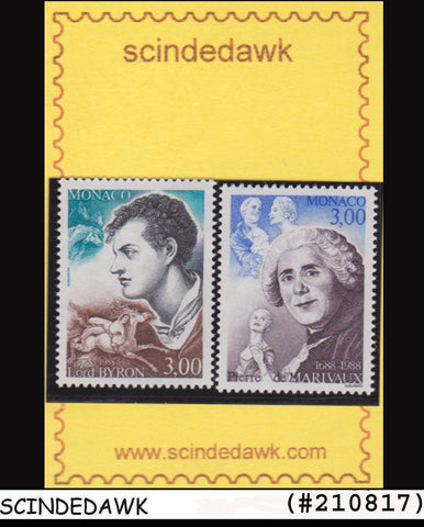 MONACO - 1988 Lord Byron English poet N Pierre de Marivaux French writer 2V MNH