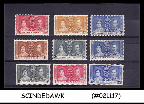 1937 KGVI CORONATION STAMPS OF NORTHERN RHODESIA, GOLD COAST AND JAMAICA 9V MH