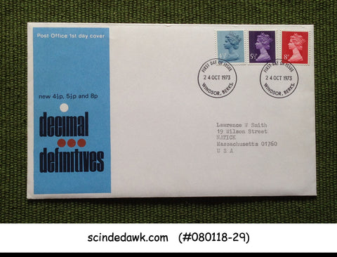 GREAT BRITAIN - 1973 DECIMAL DEFINITIVES OF QEII - 3V - FDC