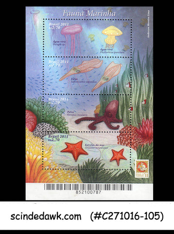 BRAZIL - 2011 Marine Fauna / OCTOPUS/STARFISH/JELLYFISH - MIN. SHEET - MINT NH