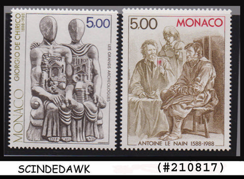 MONACO - 1988 400th B'DAY Antoine Le Nain & 100th of Giorgio de Chirico 2V MNH