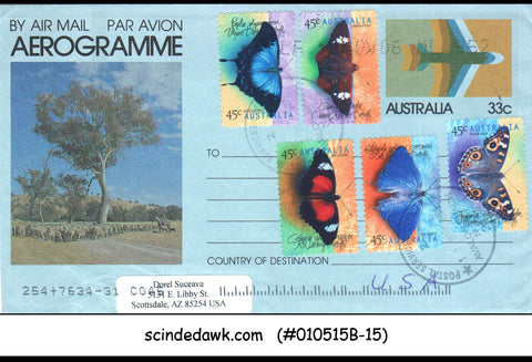 AUSTRALIA - 2006 33c AEROGRAMME TO USA WITH BUTTERFLY STAMPS