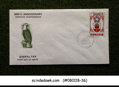 GIBRALTAR - 1976 200th ANNIVERSARY OF AMERICAN INDEPENDENCE - FDC