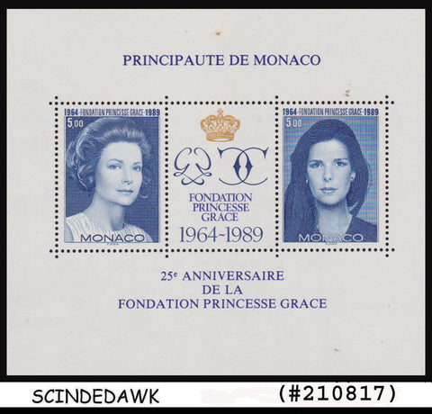 MONACO - 1988 25th ANNIVERSARY OF PRINCESS GRACE FOUNDATION Min/sht MNH