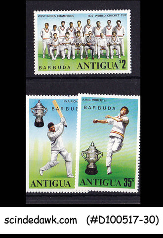ANTIGUA / BARBUDA - 1975 WEST INDIES CHAMPIONS WORLD CRICKET CUP 3V - MINT NH