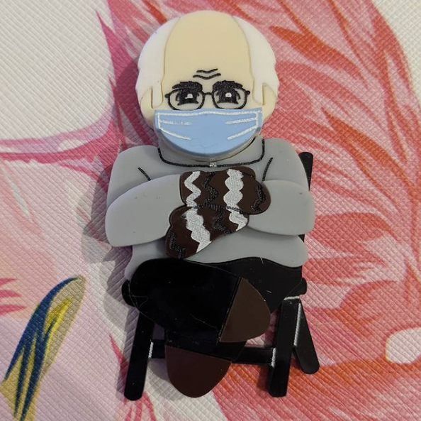 Acrylic Brooch Mania - Interview with Caitlin, creator of the Bernie Sanders Chibi Brooch