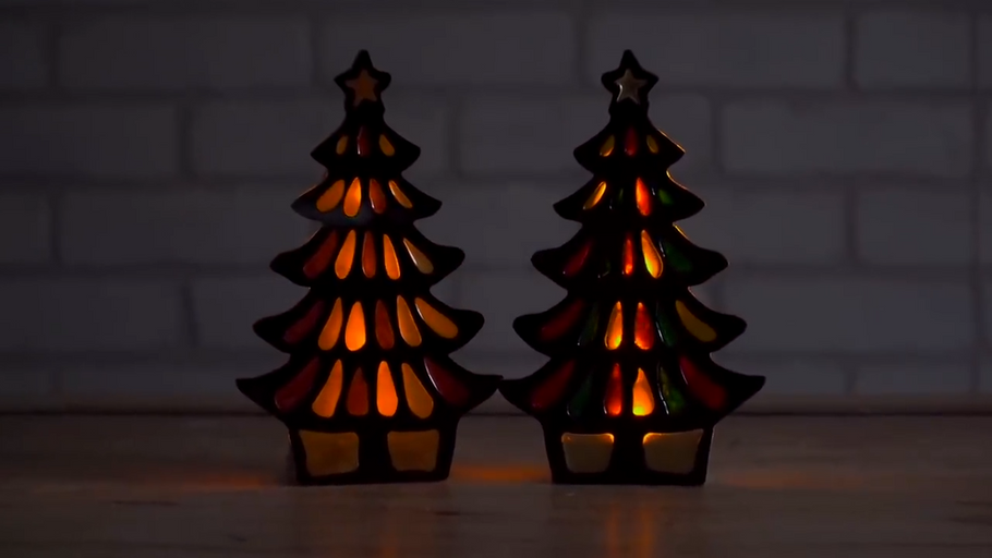 Acrylic and Resin Christmas Tree Candle Holders