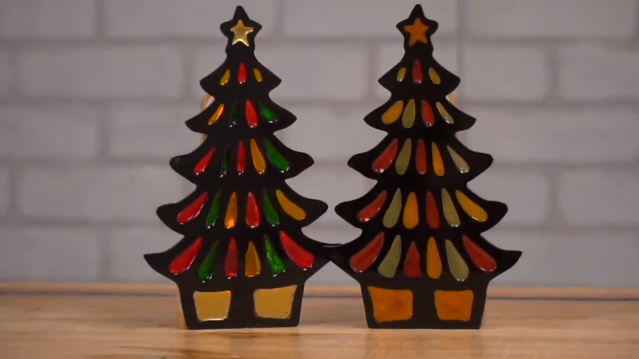Acrylic and Resin Christmas Tree Candle Holders by Make Something