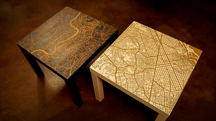 Laser Engraved Map End Tables