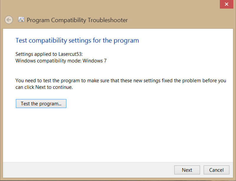Installing Lasercut 5.3 on Windows 8