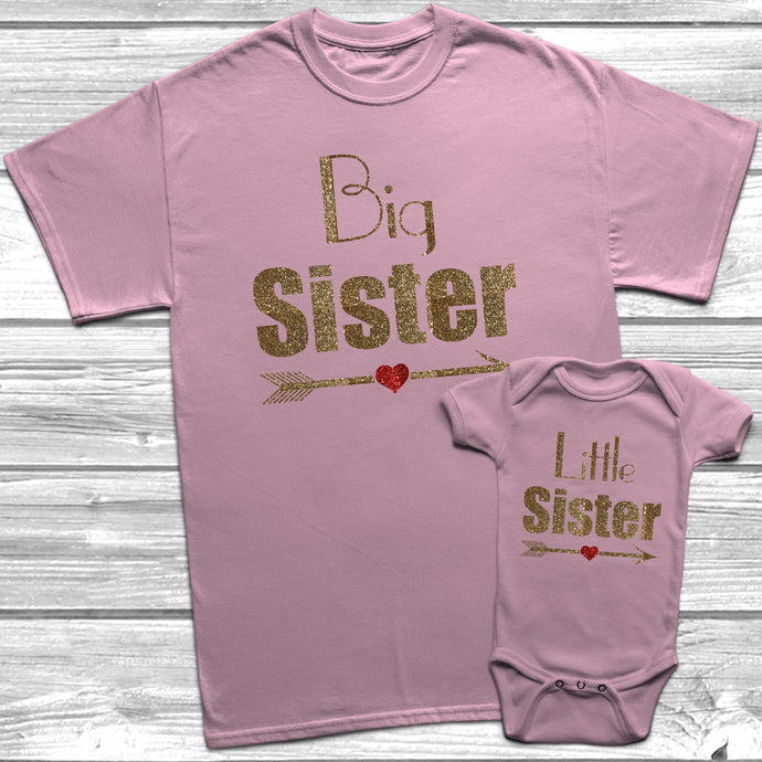 Glitter Big Sister Little Sister T-Shirt Baby Grow Set - DizzyKitten
