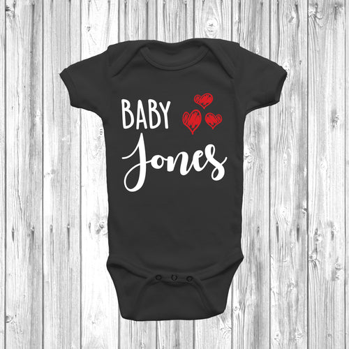 Personalised Baby Surname 3 Hearts Baby Grow