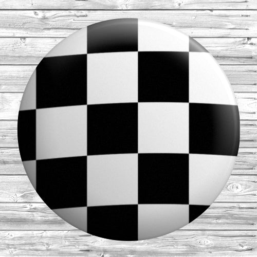Chequered Flag Badge 1 inch / 25mm - DizzyKitten