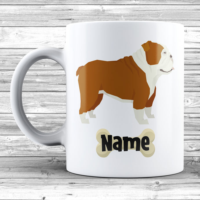 English Bulldog Design With Dogs Name Mug