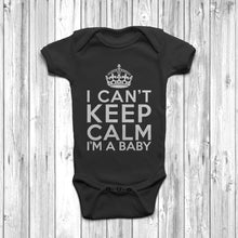 'I Can't Keep Calm I'm A Baby' Newborn Baby Grow Black